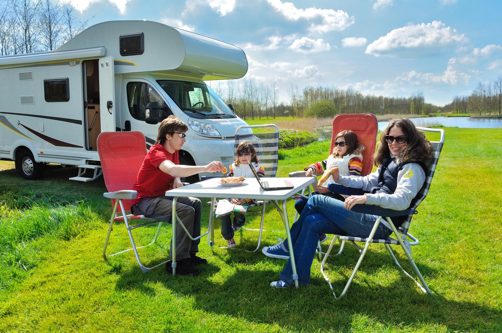 RV camper with family