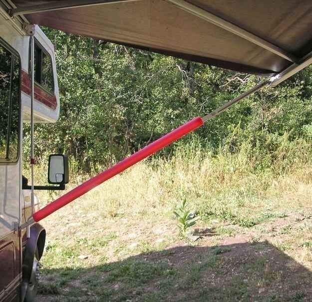 rv hacks foam noodle over awning strut