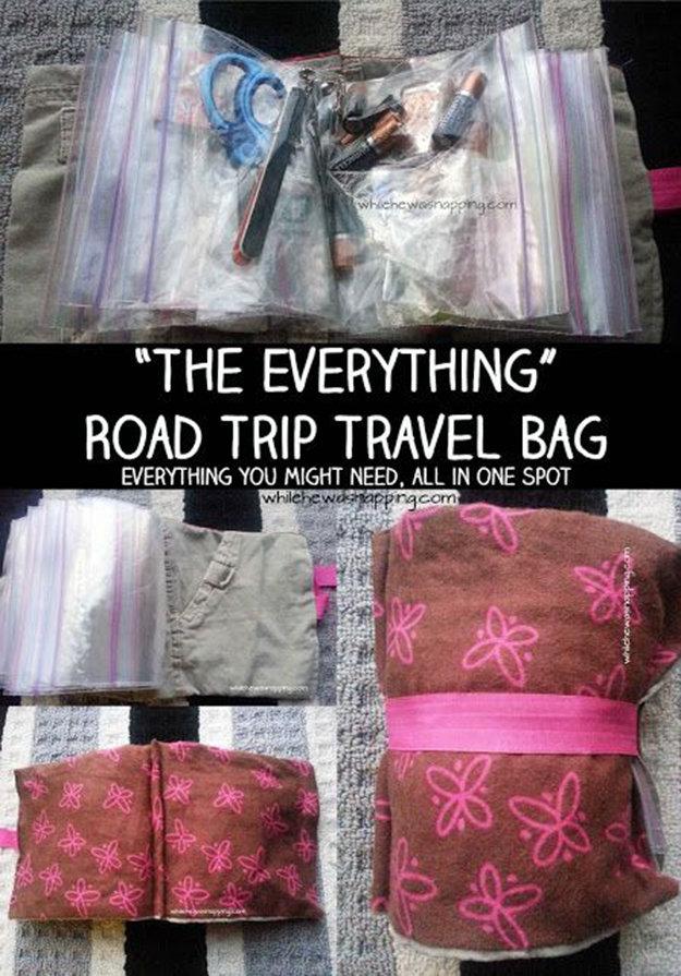 road trip hacks travel bag