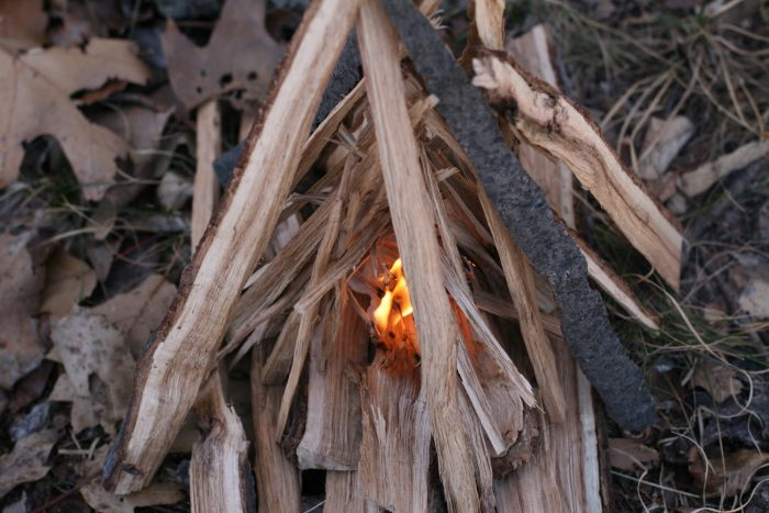 building teepee campfire