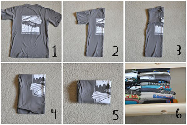 cleaning hacks tshirt fold