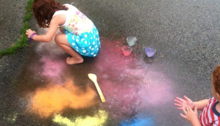 sidewalk chalk art rain