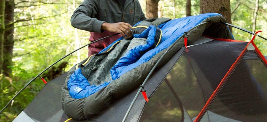 sleeping bag at camp