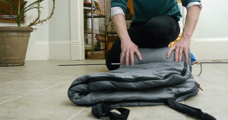 folding a sleeping bag